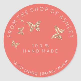 Handmade Logo From Name Web Peach Butterflies Gold Classic Round Sticker