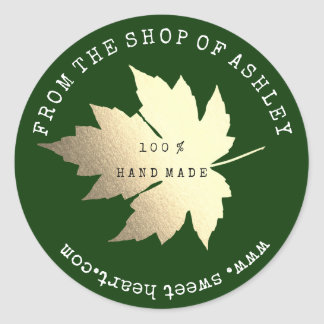 Handmade Logo Name Maple Leaf Web Cali Green Gold Classic Round Sticker