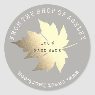 Handmade Logo Name Maple Leaf Web Gray Pastel Gold Classic Round Sticker