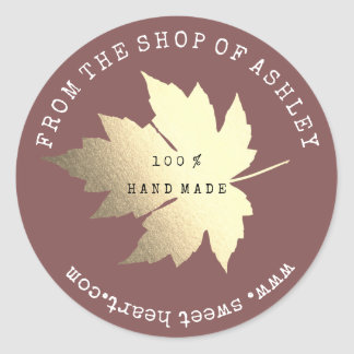 Handmade Logo Name Maple Leaf Web Red Bin Gold Classic Round Sticker