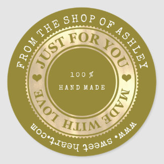 Handmade Logo Name Web Heart Love Mustard Gold Classic Round Sticker