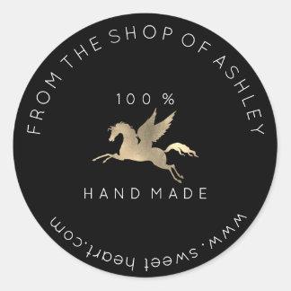 Handmade Logo Name Web Pegasus Horse Black Gold Classic Round Sticker