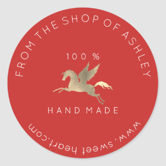 Handmade Logo Name Web Pegasus Horse Red Gold Classic Round Sticker