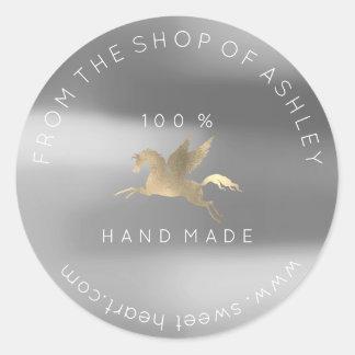 Handmade Logo Name Web Pegasus Silver Gray Gold Classic Round Sticker