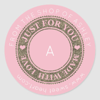 Handmade Logo Name Web With Love Pink White Gold Classic Round Sticker