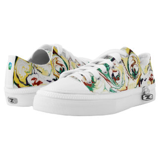 Handmade Marbled Flowers Low-Top Sneakers