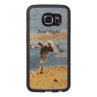 Handmade Motivational Soar High Heron Custom Wood