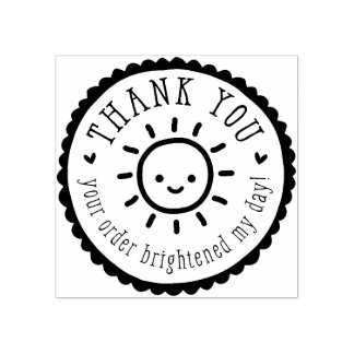 HANDMADE PACKAGING cute sun thank you Rubber Stamp