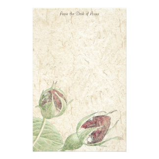 Handmade Paper Rosebuds Flowers Floral Stationery