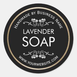 Handmade Soap Making Vintage Floral Plain Black Round Sticker