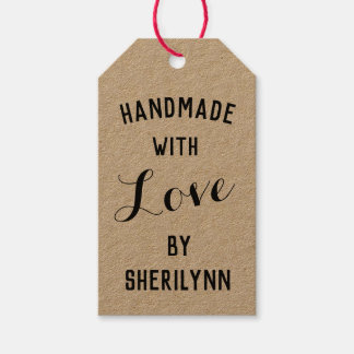 Handmade with Love and Name Kraft Gift Tags