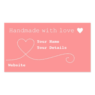 Handmade with Love Craft Business Tags Salmon Pink Business Card