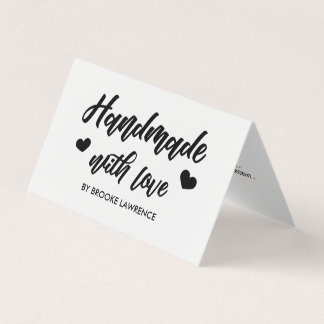 Handmade with Love Heart - Care Instructions Business Card