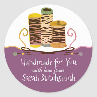 Handmade with love needles thread sewing stickers