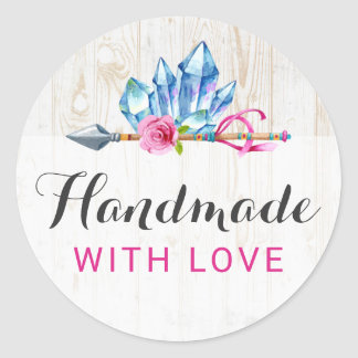 Handmade With Love Rustic Bohemian Crystal Gems Classic Round Sticker