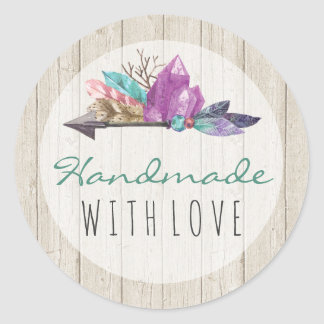 Handmade With Love Rustic Bohemian Crystals Boho Classic Round Sticker