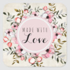Handmade With Love Rustic Cherry Blossom Floral Square Sticker