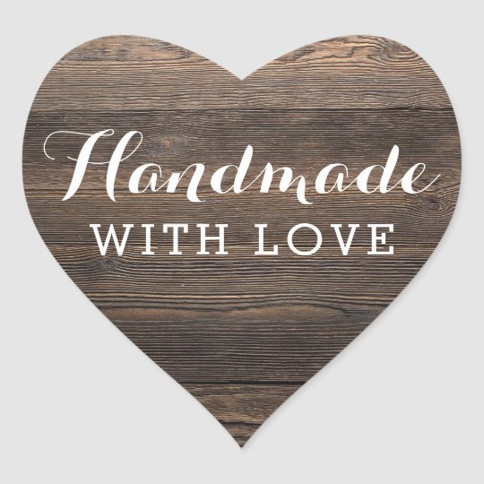 Handmade With Love Rustic Vintage Wood Elegant Heart Sticker
