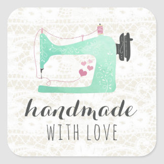 Handmade With Love Sewing Machine on Lace & Burlap Square Sticker