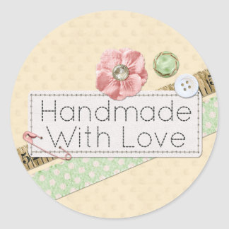 Handmade With Love Sewing Product Packaging Round Sticker