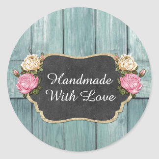 Handmade With Love Shabby Vintage Roses Packaging Round Sticker