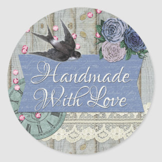 Handmade With Love Vintage Swallow Bird Shabby Classic Round Sticker