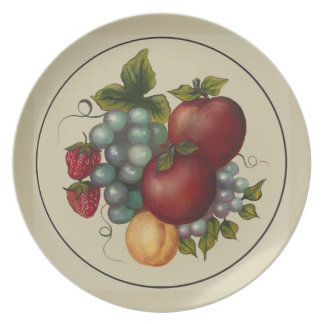 Handpainted Apples, Grapes, Apricots, Strawberries Plates