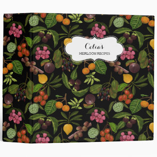 Handpainted Colorful Exotic Tropical Fruit Pattern 3 Ring Binders