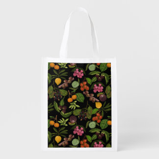 Handpainted Colorful Exotic Tropical Fruit Pattern Reusable Grocery Bag