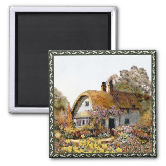 Handpainted Country Cottage Square Magnet