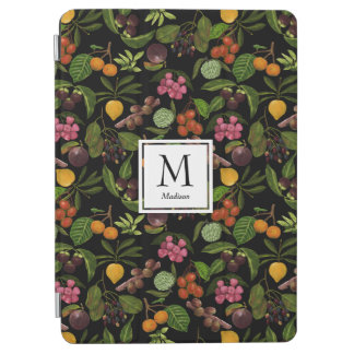 Handpainted Exotic Tropical Fruits Monogram iPad Air Cover