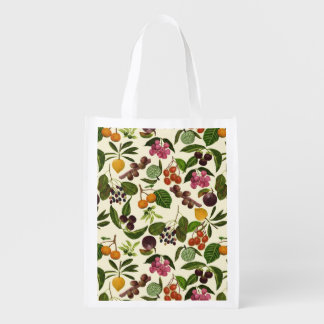 Handpainted Exotic Tropical Fruits Pattern Reusable Grocery Bag