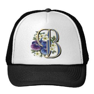 Handpainted Pansy IInitial - B Trucker Hat