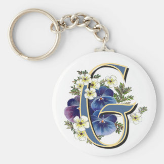 Handpainted Pansy Initial -  G Basic Round Button Keychain