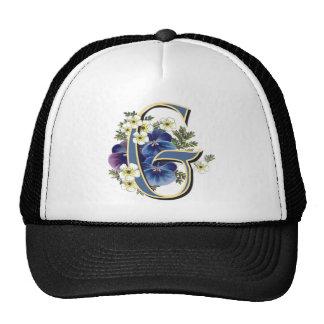 Handpainted Pansy Initial -  G Trucker Hat