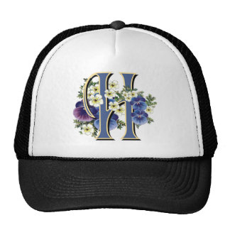 Handpainted Pansy Initial - H Trucker Hat
