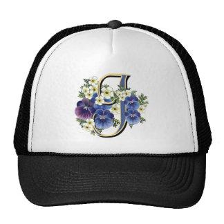 Handpainted Pansy Initial - J Trucker Hat