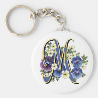 Handpainted Pansy Initial Monogram -  M Basic Round Button Keychain