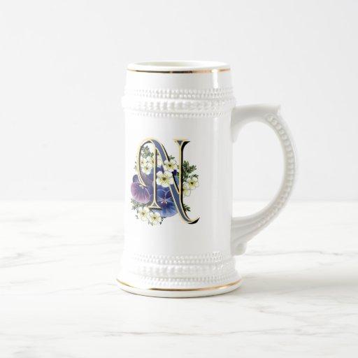 Handpainted Pansy Initial Monogram -  N Mug