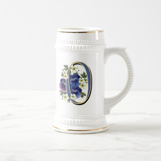 Handpainted Pansy Initial Monogram - O Coffee Mug