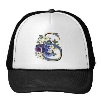 Handpainted Pansy Initial Monogram - S Trucker Hat