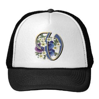 Handpainted Pansy Initial Monogram - V Trucker Hat