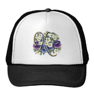 Handpainted Pansy Initial Monogram - X Trucker Hat