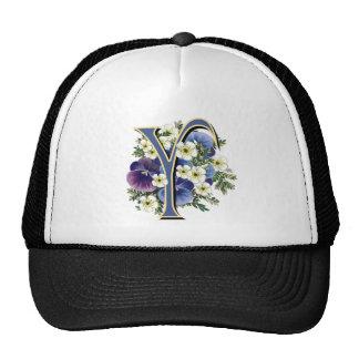Handpainted Pansy Initial Monogram - Y Trucker Hat