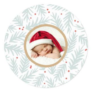 "Handpainted Pine Christmas Photo Card 5.25"" Square Invitation Card"