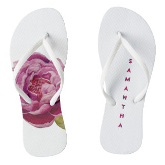 Handpainted Pink Rose Personalized Flip Flops