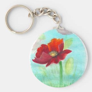 Handpainted Poppy key chain