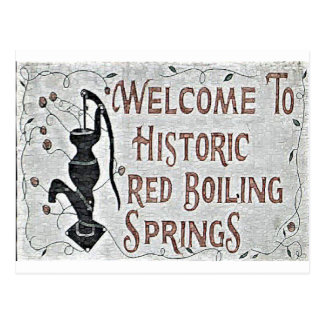 Handpainted Red Boiling Springs Sign Postcard