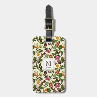 Handpainted Rustic Tropical Fruits Monogram Luggage Tag