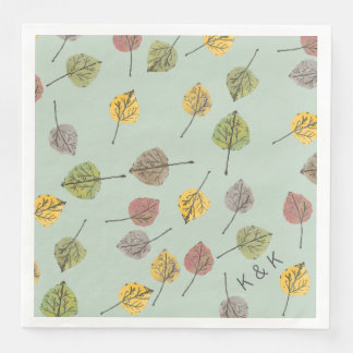 Handpainted Watercolor Aspen Leaves on Sage Green Disposable Napkin